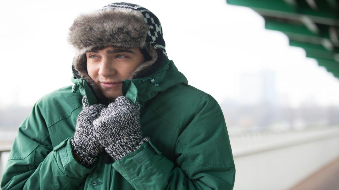 Man shivering